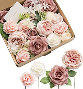 Ling's moment French Dusty Rose Artificial Wedding Flowers Combo for Wedding Bouquets Centerpieces Flower Arrangements Decorations