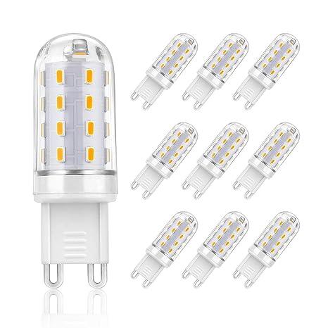 SHINE HAI bombillas LED G9 de 4W equivalentes a Lámparas halógenas de 30W,Blanco cálido