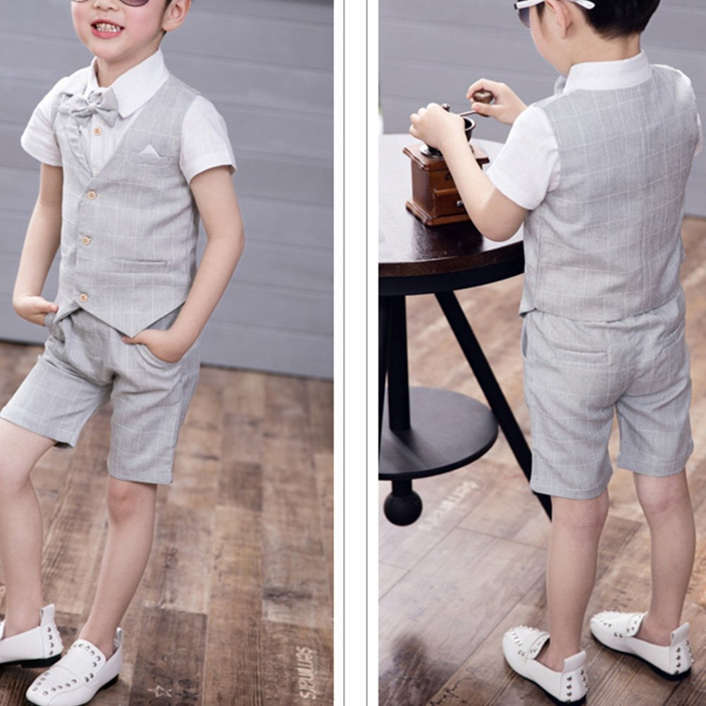 Zhhlinyuan 4 Pieces Boys Suits for Weddings Kids Prom Suits Wedding Suits for Boys Children Clothing Set Boy Formal Costume 4119#