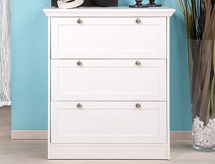 Cómoda de colour blanco con cajón Landström 80 x 90 x 45 cm ...