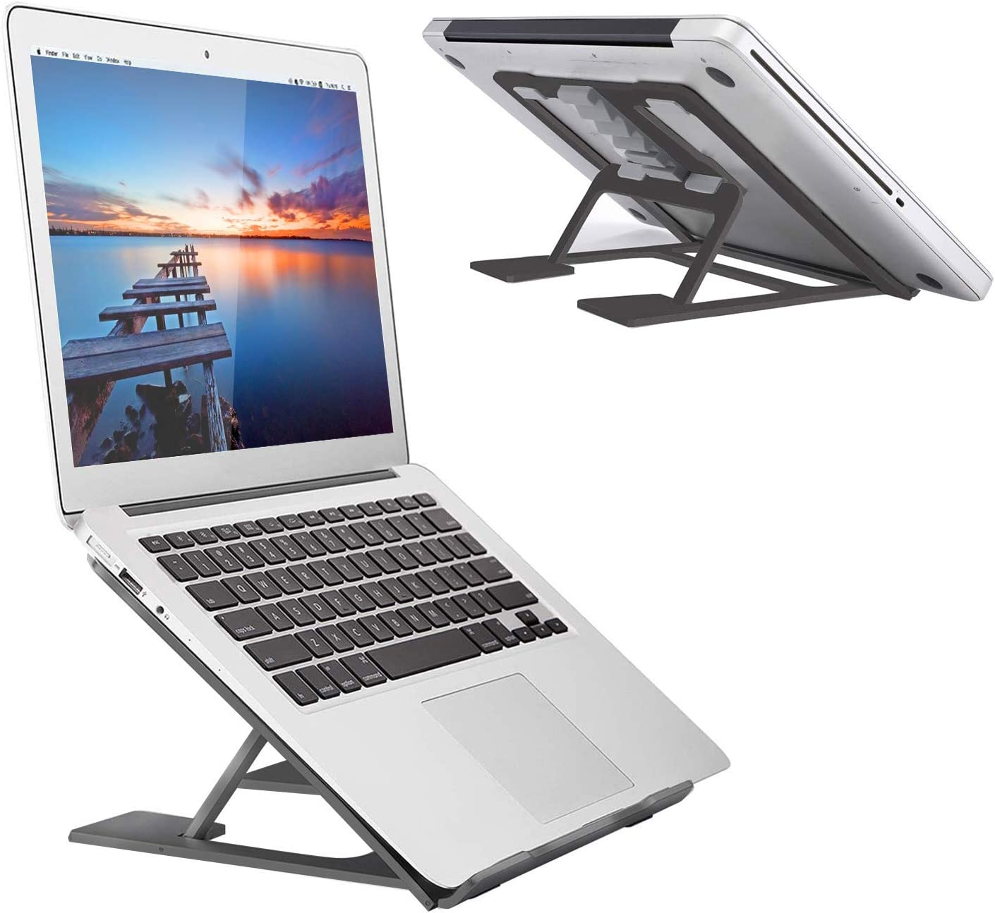 Laptop Stand Aluminum Laptop Computer Riser Holder Ergonomic Portable Height Angles Adjustable Laptop Elevator Notebook PC Holder Compatible with 8-18 Laptops such as MacBook Air Pro Lenovo HP Dell