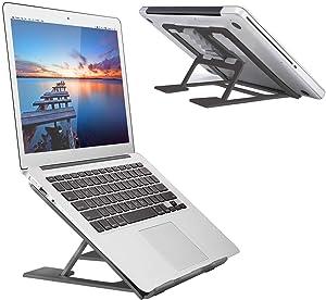 "Adjustable Laptop Stand,Ventilated Portable Ergonomic Notebook Riser for Desk,Multi-Angle Adjustable Portable Anti-Slip Mount for MacBook, Surface Laptop, Notebook, 10""-17"" Tablet (Black)"