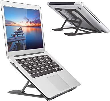 Laptop Tablet Stand Black Ventilated Adjustable Laptop Computer Holder Desk Stand Universal Lightweight Ergonomic Tray Cooling Laptop Stand for All 10-15 Laptop Notebook//Tablet