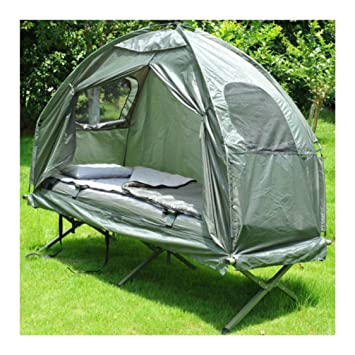 Outdoor 1-person Folding Tent Elevated C&ing Cot w/Air Mattress Sleeping Bag : tent with built in air mattress - memphite.com
