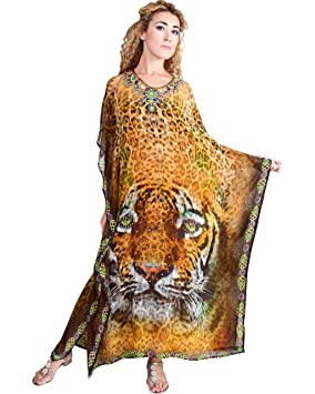 Bayside Barcelona Traje de Fiesta de Las Mujeres Vestido de Animal impresión Digital Kimono Kaftan Traje