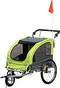 Pawhut Remolque Bicicleta Perros Carro Cochecito para Transporte ...
