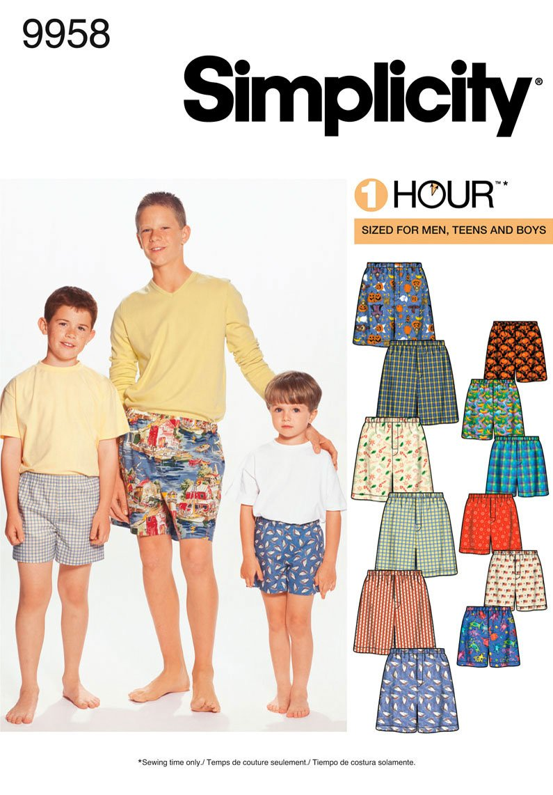 Amazon.com: Simplicity Sewing Pattern 9958 Boys and Men Boxer Shorts ...