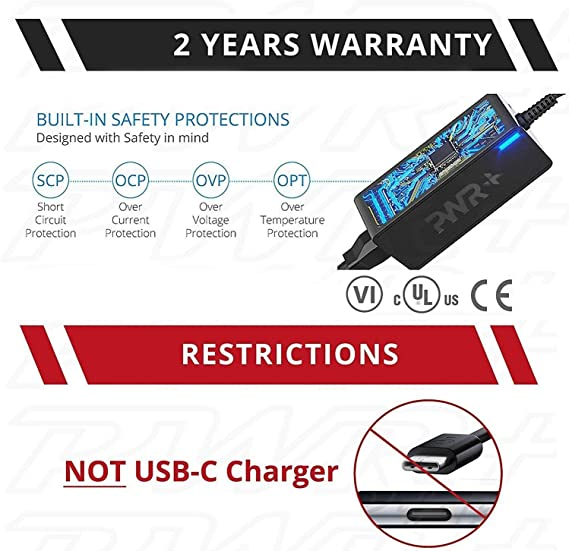 Pwr HP Laptop Charger 463958-001 741727-001 740015-001 USA UL Listed 2y Warranty Adapter for Hp Spectre X360 Stream 11 13 14 Pavilion Envy X360 ...