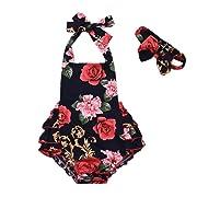 Mikrdoo Newborn Toddler Baby Girl Clothes Floral Print Ruffles Romper Jumpsuit + Headband 2pcs Outfits (0-6 Months, C)