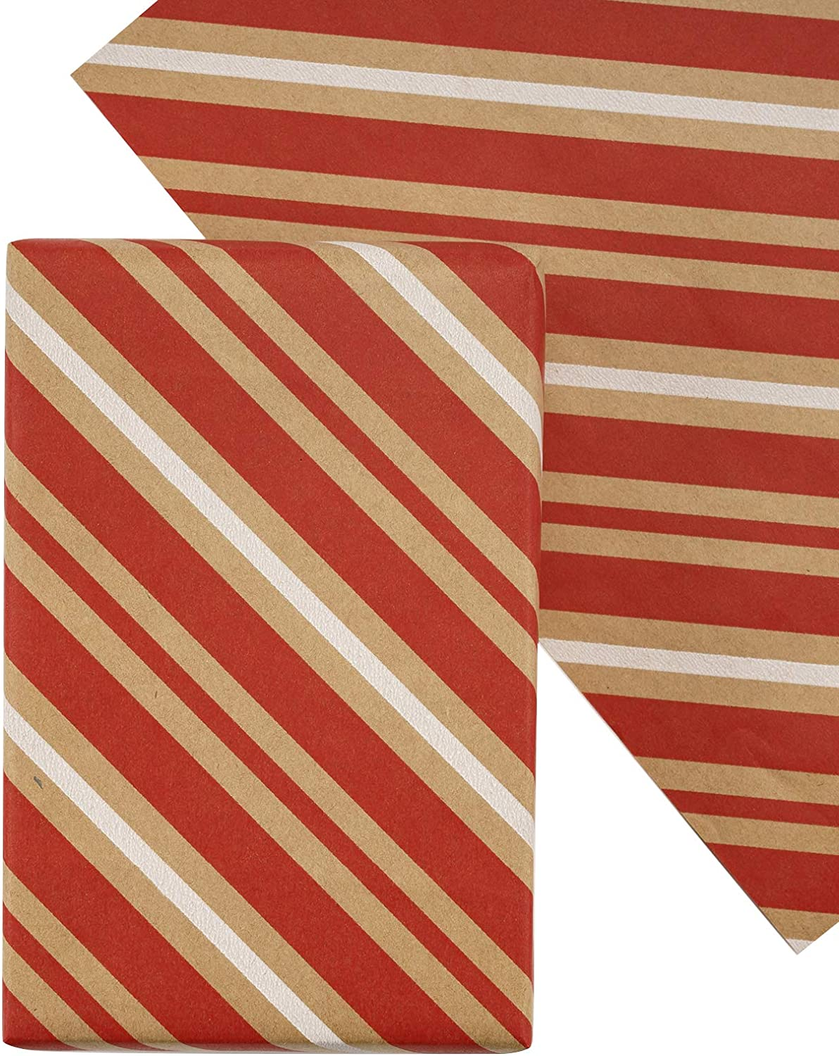 RUSPEPA Christmas Wrapping Paper Sheet, Folded Flat, Not Rolled, Holiday Wrap - 30 Inches x 10 Feet, Stripes Red