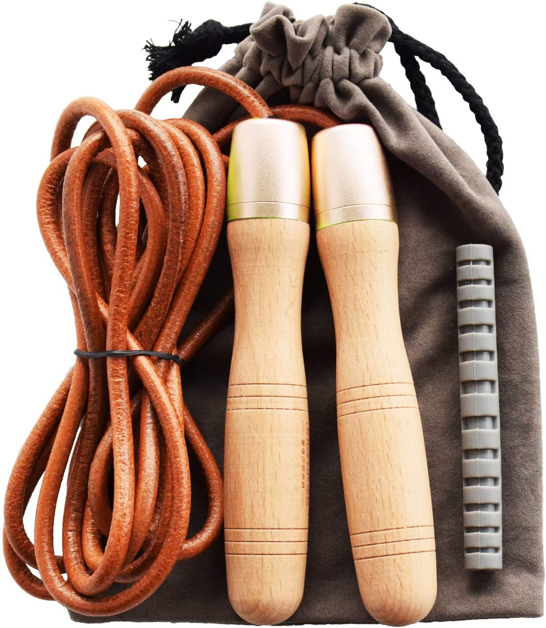 Leather Skipping Rope Fitness Gym Training Boxing Workout Jump Exercise Handle