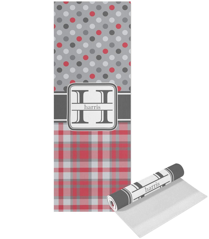 RNK Shops レッド&グレー ドット&格子柄 ヨガマット - 印刷可能 前面と背面 (カスタマイズ可) B076545FQB   Single Sided