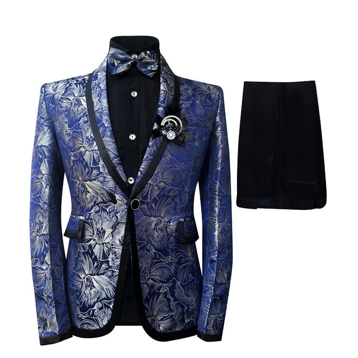 Cloudstyle Men's Plaid Tuxedo Casual Dress Suit Slim Fit Jacket & Trouser (Large)