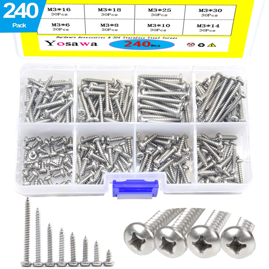 Phillips Drive #2 Drill Point 2 Length 82 Degree Flat Head 410 Stainless Steel Self-Drilling Screw Pack of 25 Plain Finish #8-18 Thread Size