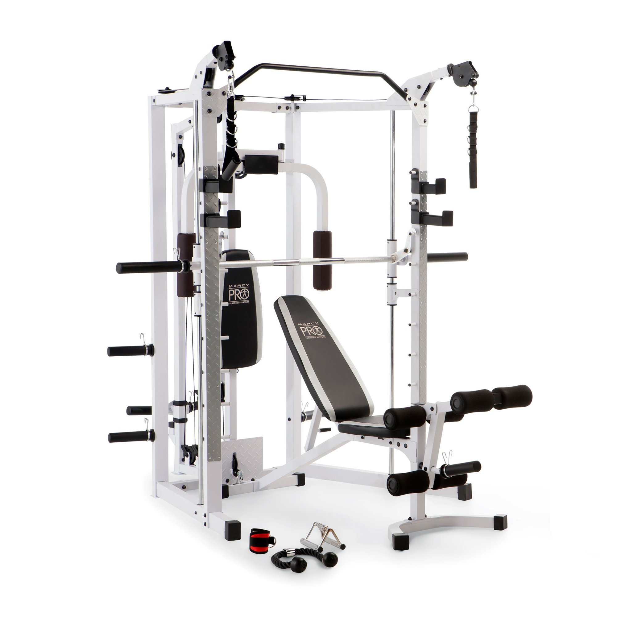 Marcy 5276 Combo Smith Heavy-Duty Total Body Strength Home Gym Machine, White by Marcy Fitness