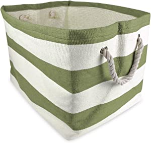 """DII Woven Paper Storage Basket or Bin, Collapsible & Convenient Home Organization Solution for Office, Bedroom, Closet, Toys, & Laundry (Large - 17x15x12""""), Olive Green Rugby Stripe"""