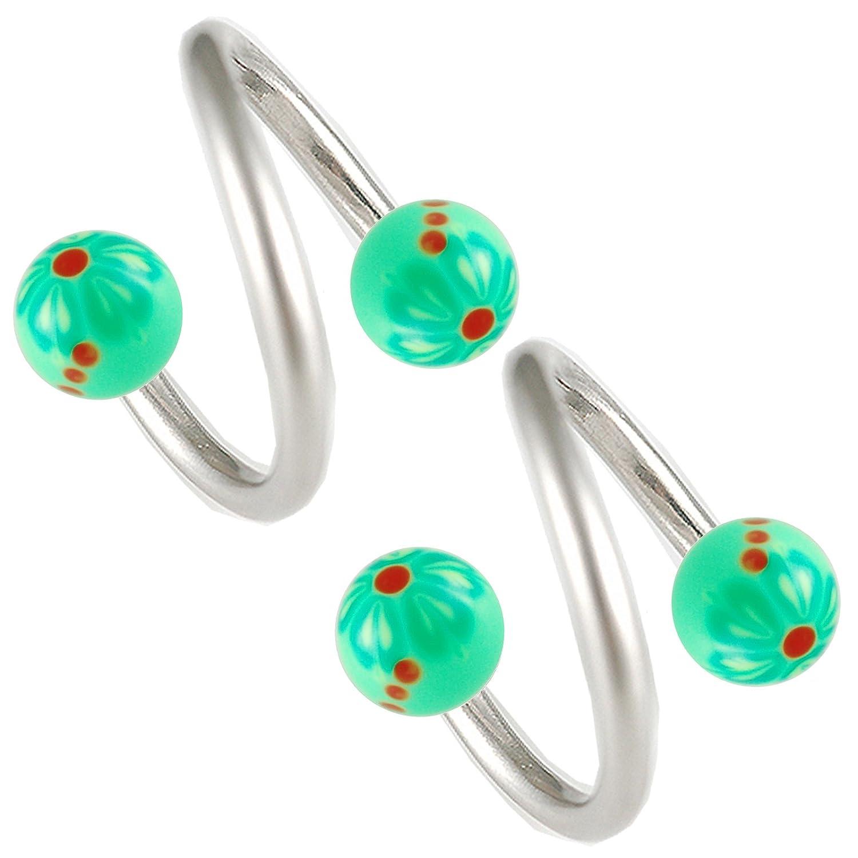 d74ce4afc824f Amazon.com: cartilage earring spiral helix barbell 16g 3/8 2Pcs lip ...