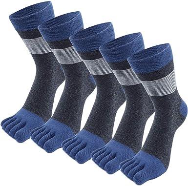 MOAMUN 5 Pares De Calcetines De Cinco Dedos Para Hombres, Calcetines Casuales De Algodón Para Hombres, Calcetines Pequeños, Suaves Y Transpirables, Otoño E Invierno (Azul oscuro): Amazon.es: Ropa y accesorios