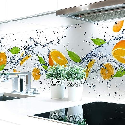 Amazon De Kuchenruckwand Orange Splash Premium Hart Pvc 0 4 Mm