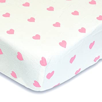 Light Pink Hearts 100% Cotton Flannel Fitted Crib Sheet   Soft Nursery  Bedding For Girls
