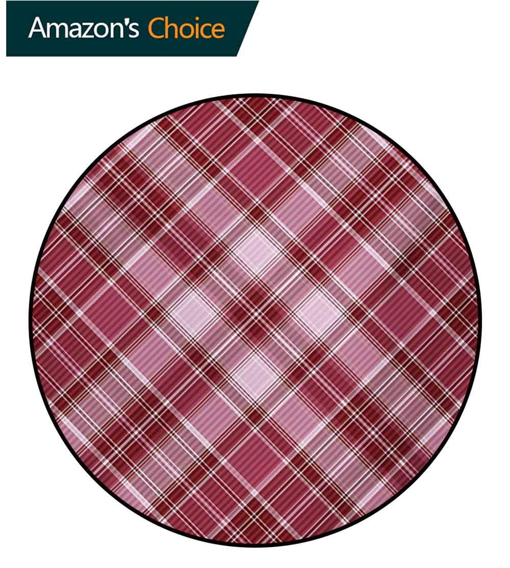Checkered Machine Washable Round Bath Mat,Cross Checkered Pattern With Diagonal Strips And Rhombus Shapes Non-Slip No-Shedding Bedroom Soft Floor Mat,Diameter-47 Inch Dried Rose Ruby And White