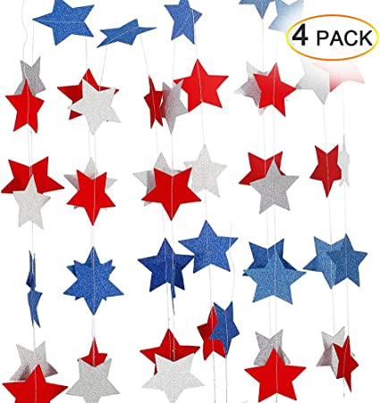 Amazon Com Lumiparty Patriotic Decorations Hanging Streamers 4