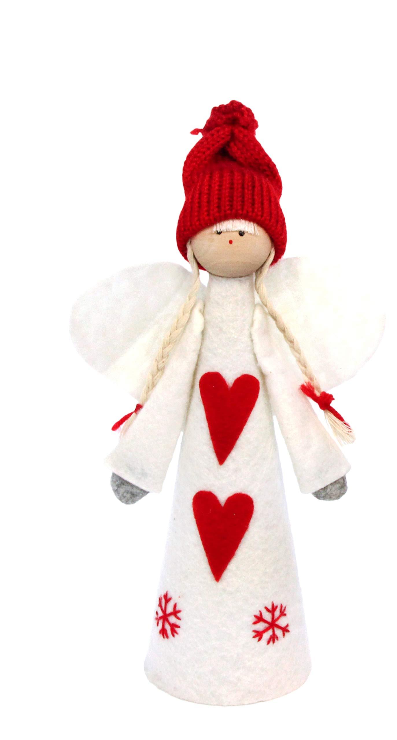 Gisela Graham Red & White Felt Angel Tree Topper - 25cm