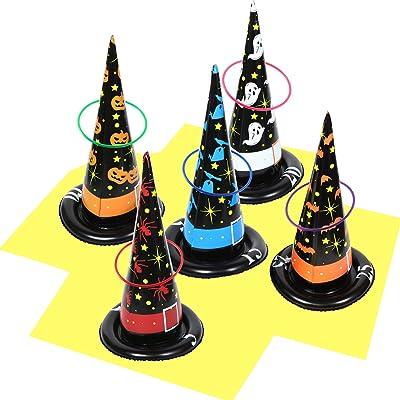 Gejoy El Juego de Lanzamiento de Anillo Inflable de Halloween, El Juego de Lanzamiento de Anillo de Bruja de Halloween y El Sombrero de Bruja, La Decoración de Halloween Juego de Fiesta Juguetes: Juguetes y juegos