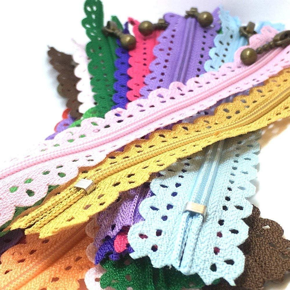 Lace Zippers 20CM 7.8inch LNKA Lace Zippers Novelty 20pcs//Pack 3# End Zipper DIY Nylon Coil Flower Zipper for DIY Sewing Dress Tailor Craft Bed Bag Random Color