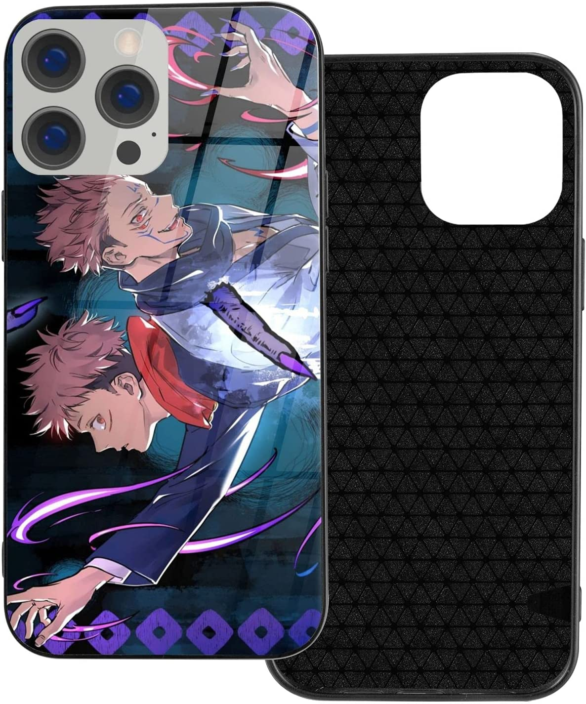 rilixuy Jujutsu Kaisen Glass Shell Phone Case for iPhone 12 Comic Anime Manga Theme Protection Back Cover-2