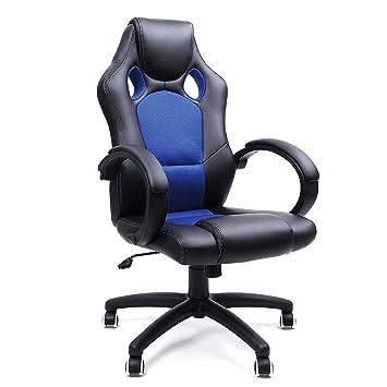 Blau Racing Pu Drehstuhl Bürostuhl Stuhl Songmics Schwarz Chefsessel Obg56l HWDE2I9Y