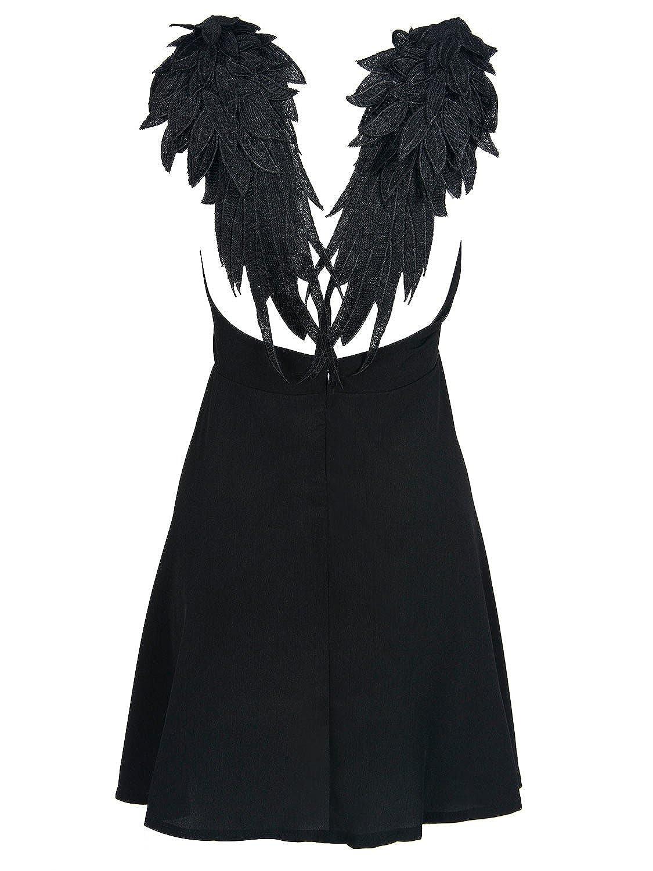 159dc7a030 Choies Women s Black Plunge V-Neck Angel Wings Open Back Skater Cami Mini  Dress  Amazon.co.uk  Clothing