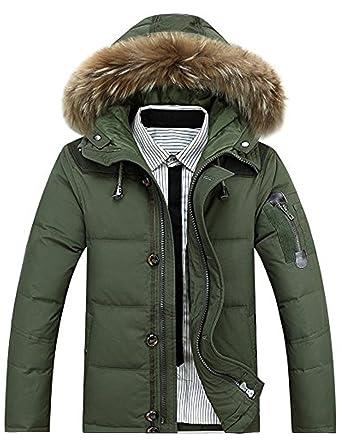 GLESTORE Herren Warme Winterjacke Parka mit Fell Baumwolle Wintermantel mit Pelzkragen Kapuzenjacke Outdoor