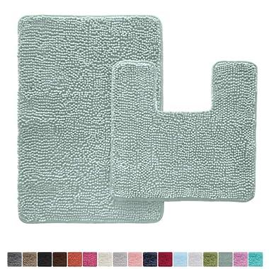 Gorilla Grip Original Shaggy Chenille 2 Piece Bath Rug Set, Includes Square U-Shape Contoured Toilet Mat & 30x20 Carpet Rug, Machine Wash/Dry Mats, Plush Rugs for Tub Shower & Bath Room, Spa Blue