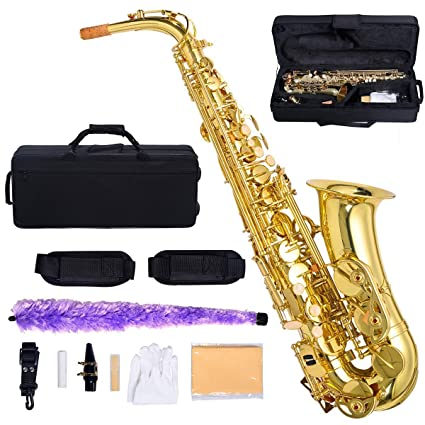 Costzon Alto Saxophone, E-Flat Gold Lacquer Finish, High F Key, Full Set  Accessories with Carry Case, Neck Straps, Mouthpiece, Cork Grease, Reed,