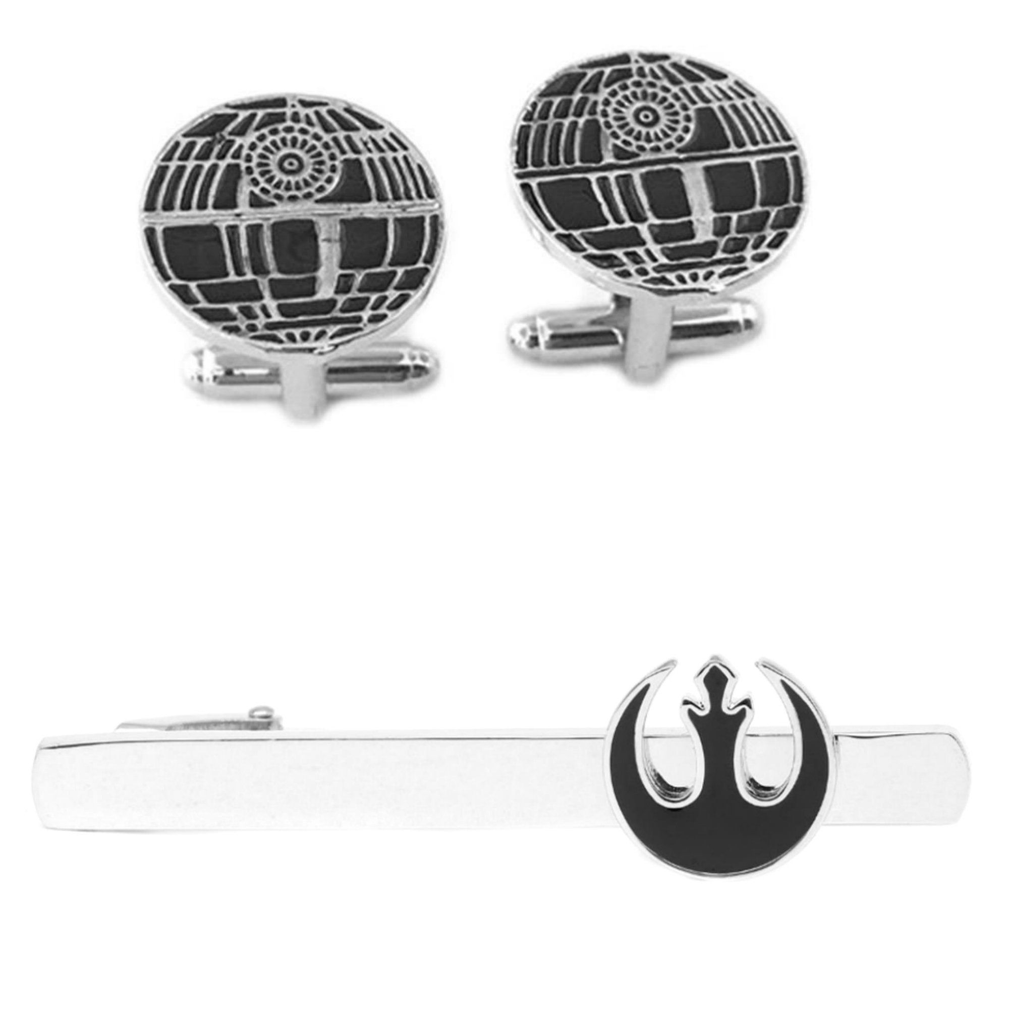 Outlander Death Star Cufflink & Rebel Black Tiebar - New 2018 Star Wars Movies - Set of 2 Wedding Logo w/Gift Box