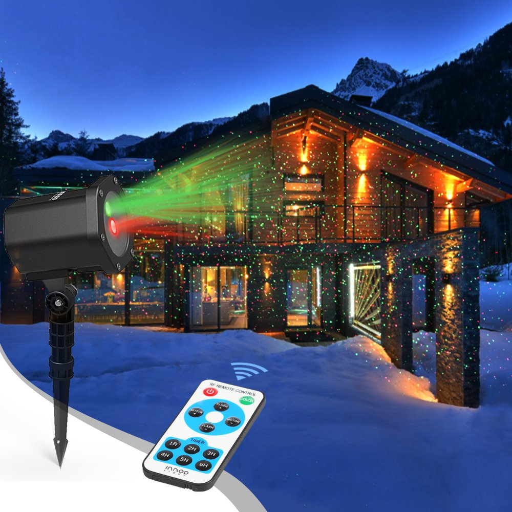 Laser Christmas Lights, InnooLight Outdoor Christmas Laser Lights Show, Red and Green Starry Christmas Lights Projector, Laser Holiday Lights with RF Remote for, Outdoor, Garden, Christmas Decoration