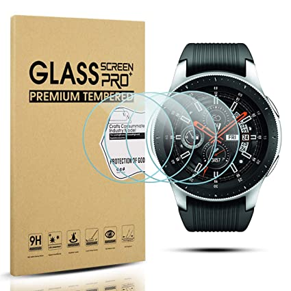 Diruite 4-Pack for Samsung Galaxy Watch 46mm Screen Protector Tempered Glass for Galaxy 46mm Watch, SM-R800 [2.5D 9H Hardness] [Anti-Scratch]
