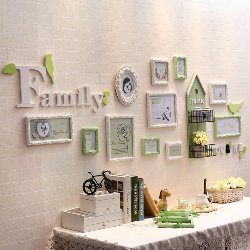 Photo Wall, European Solid Wood Frame Wall Combination, Living Room Children's Room Iron Frame Photo Frame 11 Frame ( Color : 1# )