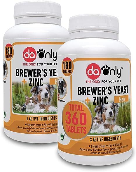 DAONLY Levadura de Cerveza para Perros y Gatos en Comprimidos (Pack de 2). Suplemento Nutricional con vitaminas B para el Pelo, la Piel y Las Uñas de ...