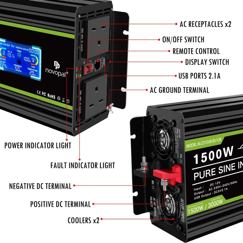 telecomando da 5 metri e due ventole di raffreddamento Inverter di potenza pura onda sinusoidale 1500 Watt 12V DC a 230V//240V AC Display LCD 2 prese AC Inverter auto con una porta USB 2B 新品 Novopal