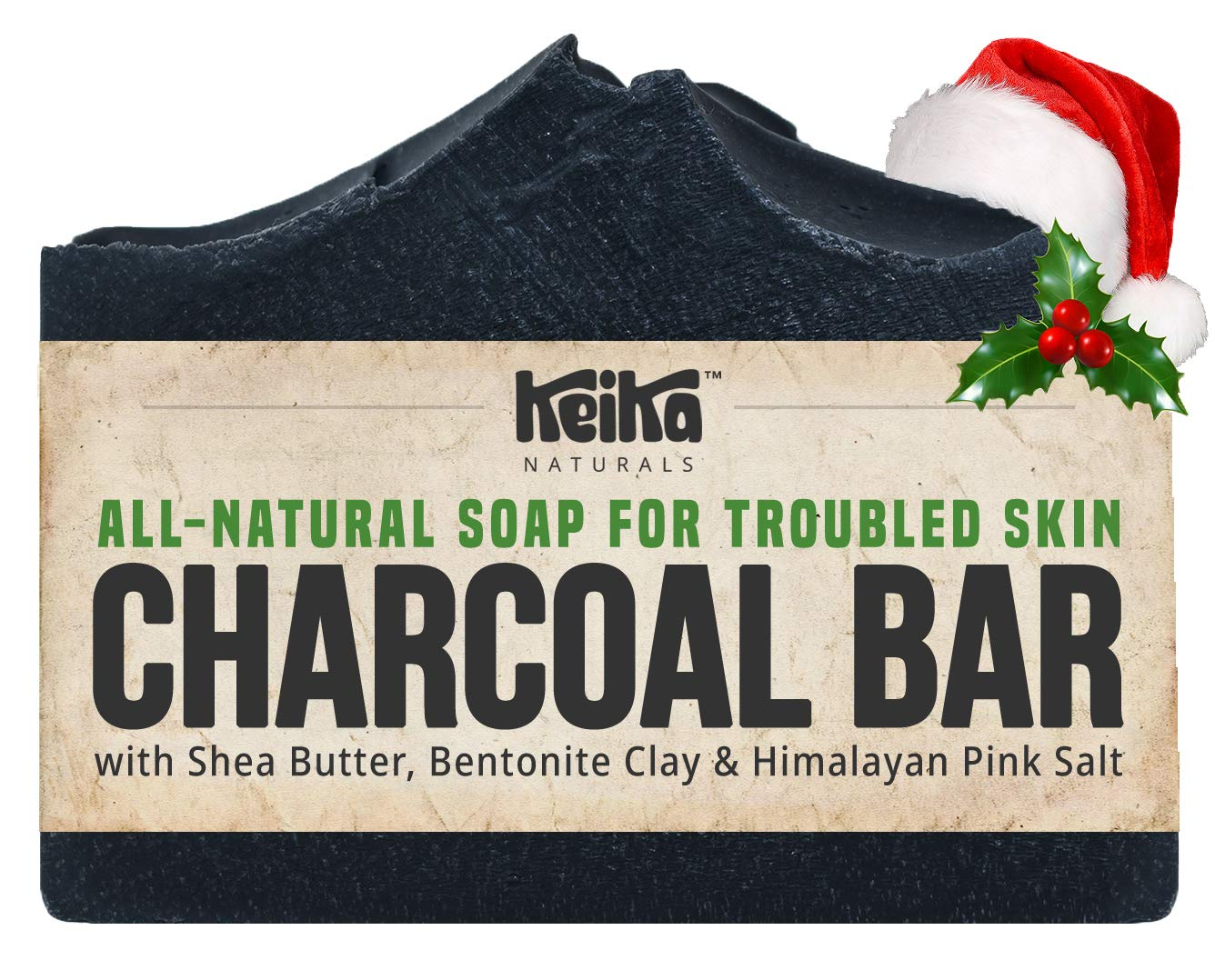 Charcoal Black Soap Bar with Shea Butter for Face, Acne, Blackheads, Eczema, Psoriasis | 100% All-Natural Vegan. Fragrance-Free. Non-GMO. Handmade. Facial Cleanser Soap for Oily Skin. 5 oz.