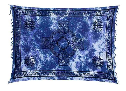 Sarong Pareo Wickelrock Strandtuch Tuch Wandbehang Schal Keltisch Kreuz Blau
