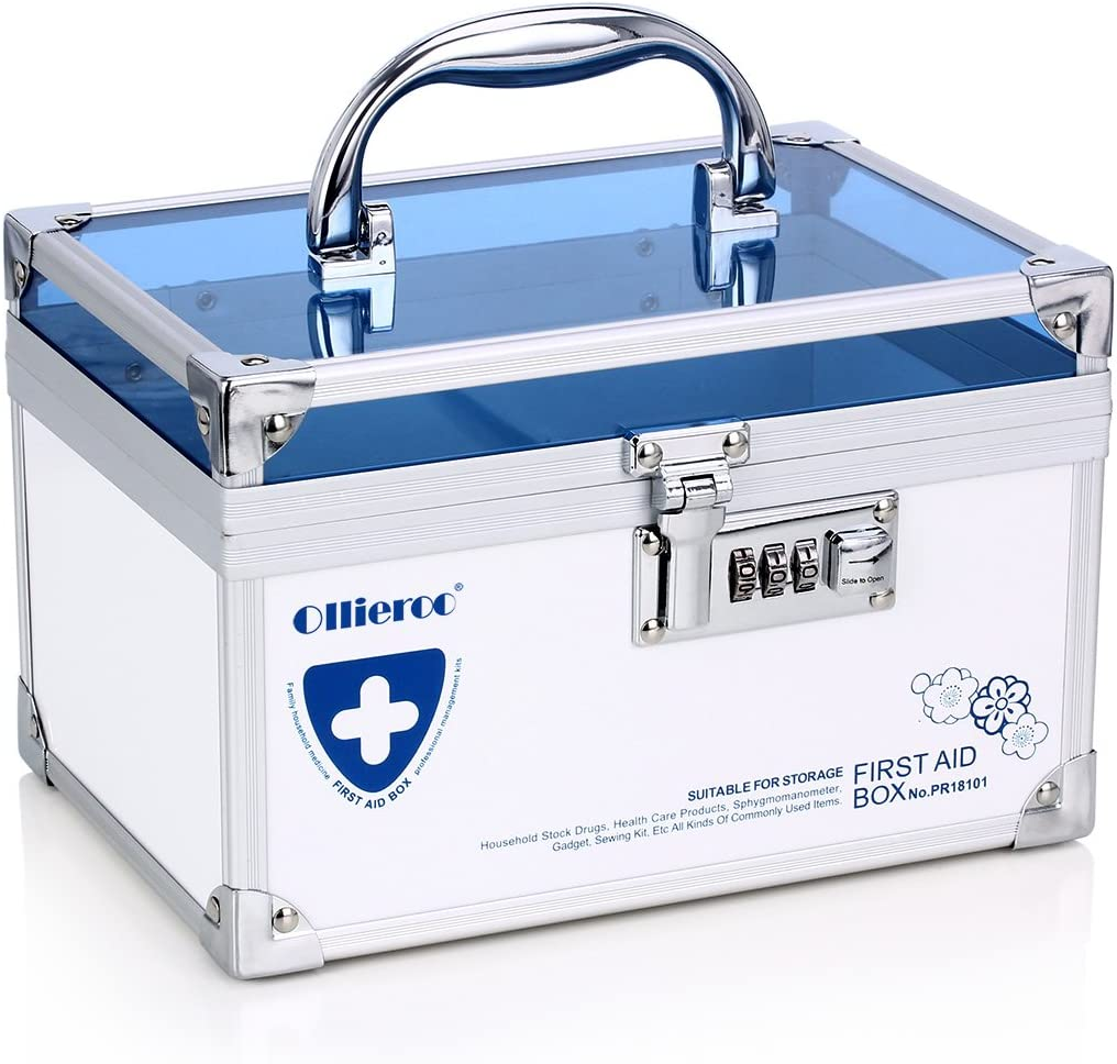 Ollieroo Combination Lock Box for Medication Compartments Medicine Storage Box First Aid Box Blue