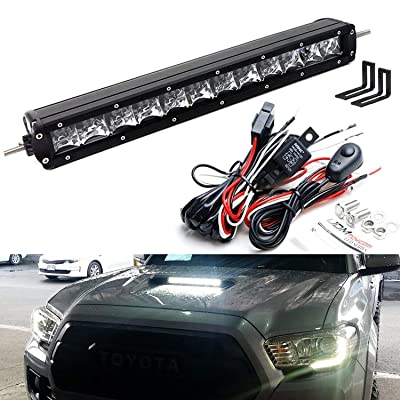 iJDMTOY 35-966 Scoop Light Bar Compatible with 2016-up Toyota Tacoma, Includes (1) 60W High Power LED Lightbar, Hood Bulge Mounting Brackets & On/Off Switch Wiring Kit: Automotive