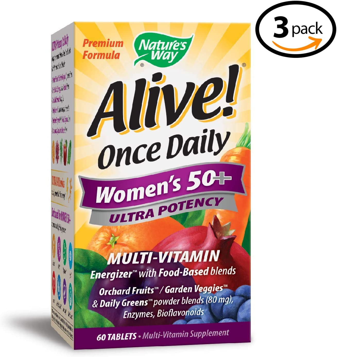 Nature's Way Alive! Once Daily Women's 50+ Multivitamin, Ultra Potency, Food-Based Blends (80mg per Serving), 60 Tablets - 3 Pack