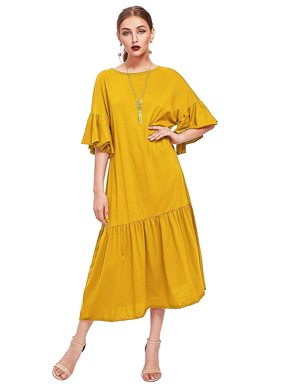 Wdira Women's Drop Waist Half Sleeve Round Neck Casual Dress by Wdira