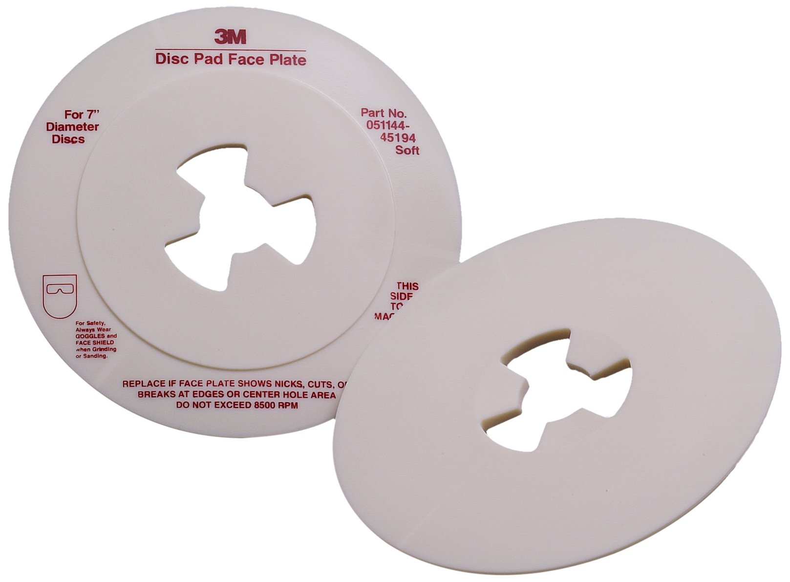 3M Disc Pad Face Plate 45194, 7'' Diameter, Soft, White (Pack of 10)
