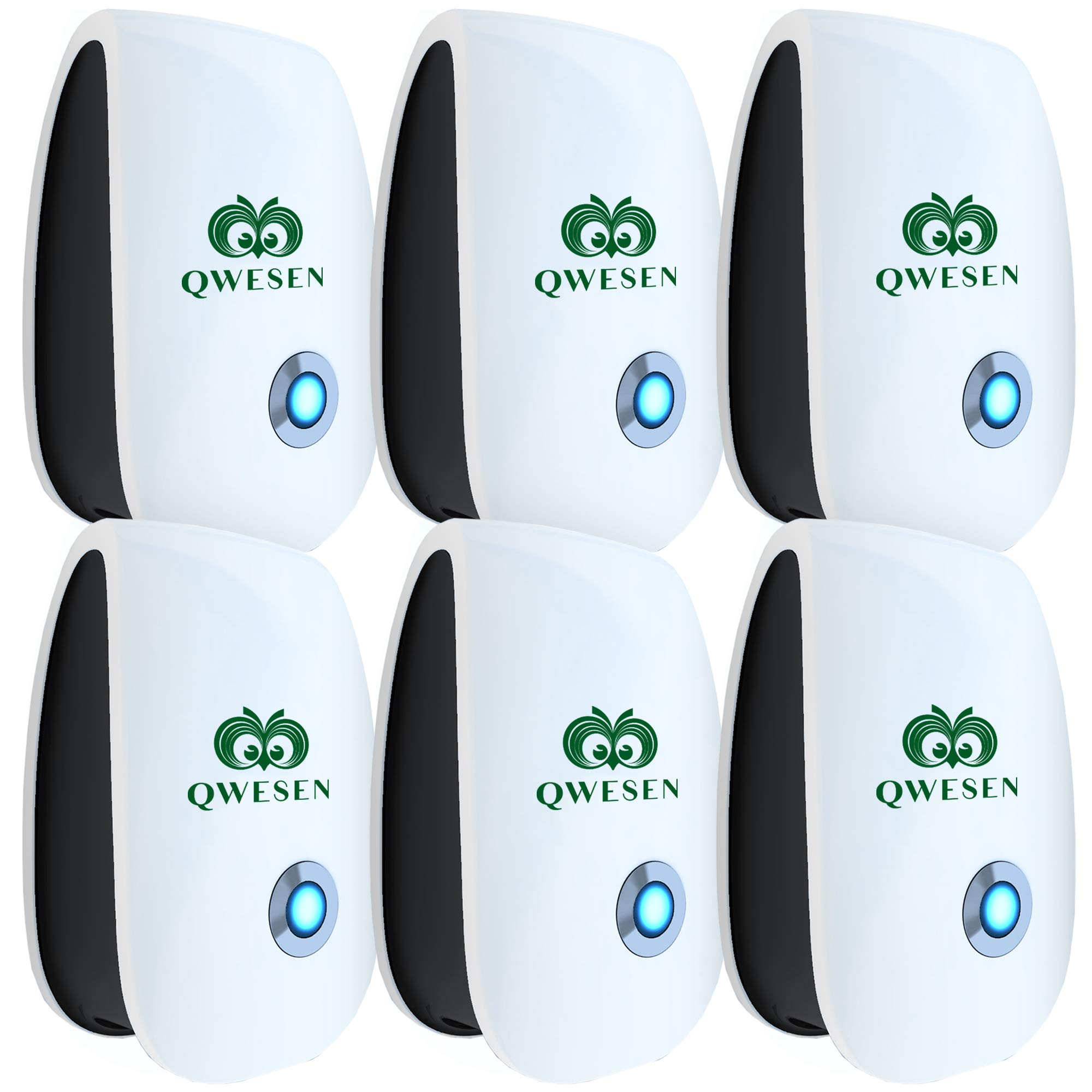 Ultrasonic Pest Repeller | Best Pest Control Ultrasonic Repellent - Set of 6 Electronic Pest Control - Pest Reject - Plug in Home Indoor Repeller - Get Rid of Mosquitos, Insects, Ants, Fleas, Gophers by QWESEN