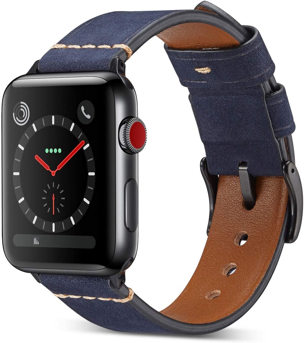 DaGeLon Compatible with Apple Watch Band 38mm 40mm 42mm 44mm Series 6 SE Series 5 Series 4 3 2 1, Elegant Soft Frosted Leather Wristband Matte Durable Replacement Strap for iWatch Sport Edition Nike+